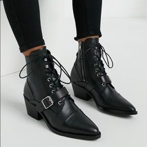 All Saints Katy Leather Ankle Boots Black
